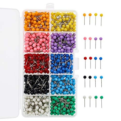 Paper Junkie 1000-Count .5 Inch Colored Round Head Push Pin Map Tacks with Case, 10 Colors