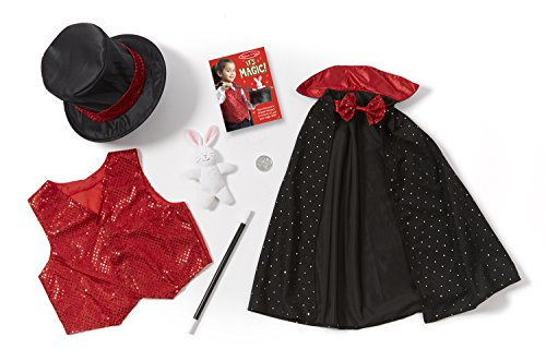 Melissa & Doug 96025 Magician Role Play Costume Set - Includes Hat, Cape, Wand, Magic Tricks Frustration-Free Packaging, Multicolor