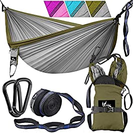 OUTDRSY Portable Camping Hammock with Tree Straps, Double Hammock 118″ x 78″ w/ 550lbs Capacity, Premium 210T Nylon Parachute Hammock Set Tear-Resistant But Soft