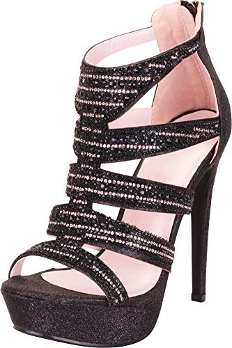 Cambridge Select Women's Cutout Caged Crystal Rhinestone Chunky Platform High Heel Dress Sandal,7 B(M) US,Black Glitter ()