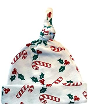 Jacqui's Unisex Baby Christmas Candy Cane Knotted Hat