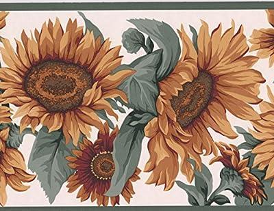 Yellow Sunflowers Floral Modern Wallpaper Border Nature Design, Roll 15' x 7''