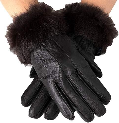 دستکش های چرمی زنانه آلپ چرمی دستکش خرگوش ، خرگوش خز ، روکش حرارتی پارچه ای