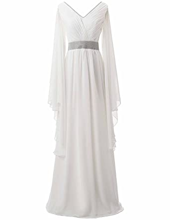 Clearbridal Womens White Chiffon V-Neck Prom Dress Formal Long Sleeve Evening Gown with Beaded