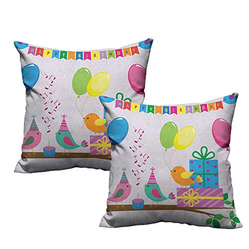 RuppertTextile Customized Pillowcase Kids Birthday Singing Birds Happy Birthday Song Flags Cone Hats Party Cake Celebration Protect The Waist W16 xL16 2 pcs