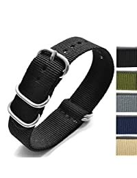 New Arrival Heavy Duty Watchband Military Quality Nylon 5 Ring ZULU NATO G10 Watch Strap 18mm 20mm 22mm 24MM (black, 18mm)