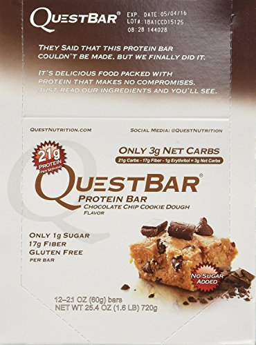 Quest Bar Chocolate Chip Cookie Dough, Low Carb Protein Weight Loss Muscle Building, 2.1 Oz (24-Pack)