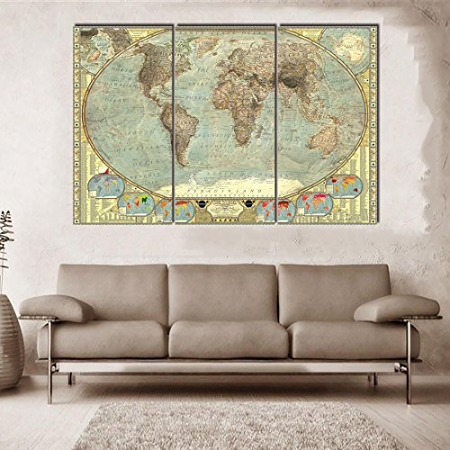 3 Piece Canvas Art Print Vintage Home Decor World Map Painting Ancient Retro Pictures for Living Room Bedroom Earth Geography Wall Art with Framed Wall Paintings Ready to Hang(40''H x 60''W) ()