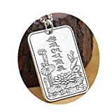 Epinki 925 Sterling Silver Women Men Necklace Six Word Mantra Lotus Pendant-Luck Chain-A105