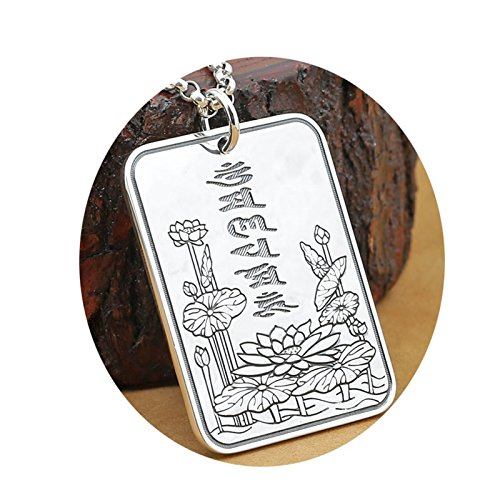 Epinki 925 Sterling Silver Women Men Necklace Six Word Mantra Lotus Pendant Buddhism-A100