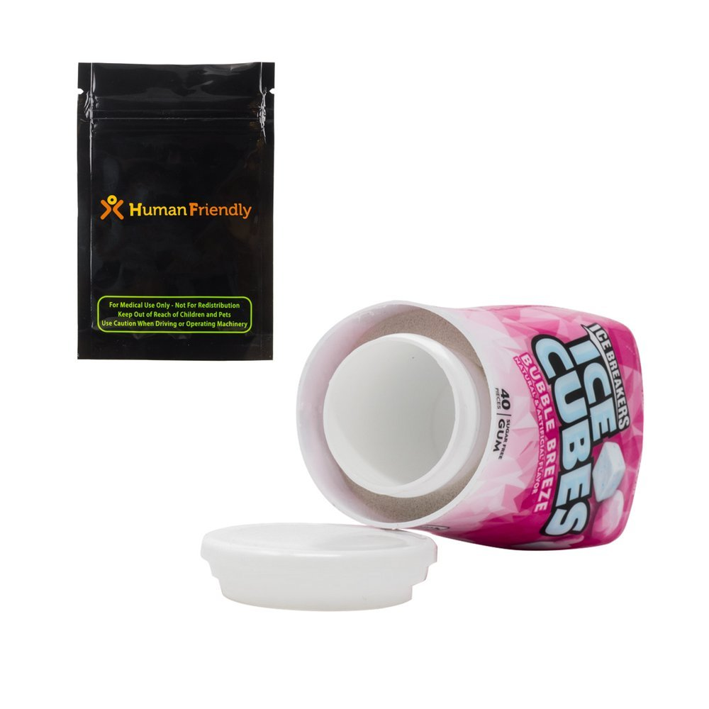 Ice Breakers Bubble Gum Diversion Safe Stash Container Travel Size w HumanFriendly Smell-Proof Bag