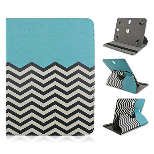 "Ematic Genesis Prime 8"" 8 inch Tablet Chevron Blue Universal Case Cover - Adjustable 360 Rotating Stand Design -  EZBazar"