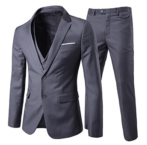 Solid Two Button Suit Jacket (Cloudstyle Men's 3-Piece Suit 2 Buttons Slim Fit Solid Color Jacket Smart Wedding Formal Suit)