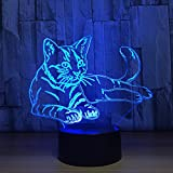 Cat 3D Night Light Touch Table Desk Lamp, Thosdt 7 Colors 3D Optical Illusion Lights with Acrylic Flat & ABS Base & USB Cable