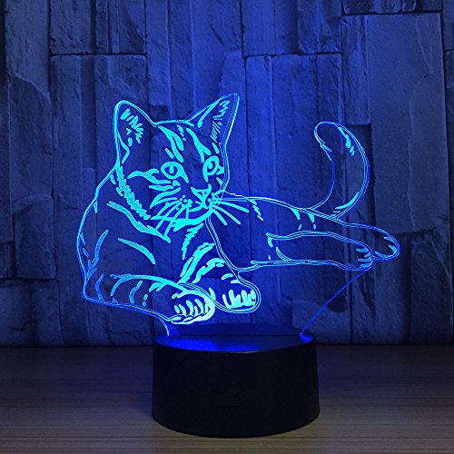 Cat Animal Night Light 3D Visual Bedroom LED Desk Lamp Cat Toy Household Home Room Decor 7 Colors Change Touch Table Light Birthday Gift Christmas Gift for Kids Children and Adult by Fuxiao