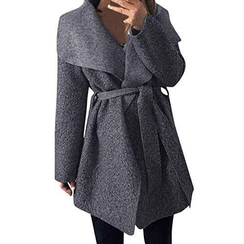 Women Down Jacket Neck Outwear Coat Cinch Waist with Belt Overcoat Cardigan(Gray-Small) ()