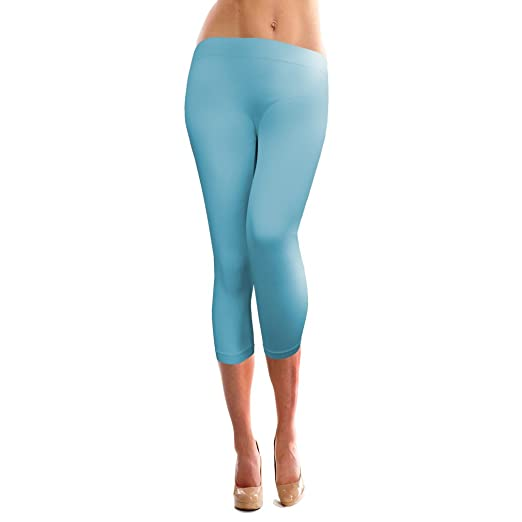 fab521e21abcf BASICO Women's Solid Color Seamless Capri Legging (One Size Fits All) (Aqua)