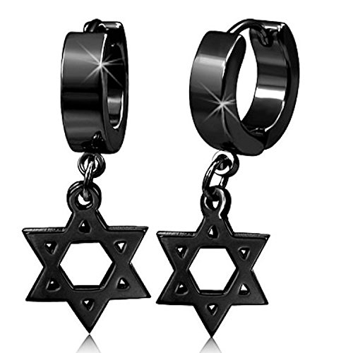Black Stainless Steel Hoop Huggie Earrings with a Cut Out Drop Down Star of David Charm