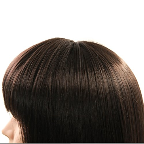 Charming Christmas Gift Short Bob Wigs Straight Bang Cosplay for Xmas Party Costume Wig Natural as Real hair 11 inch (Black) by FannisCoco (Image #3)