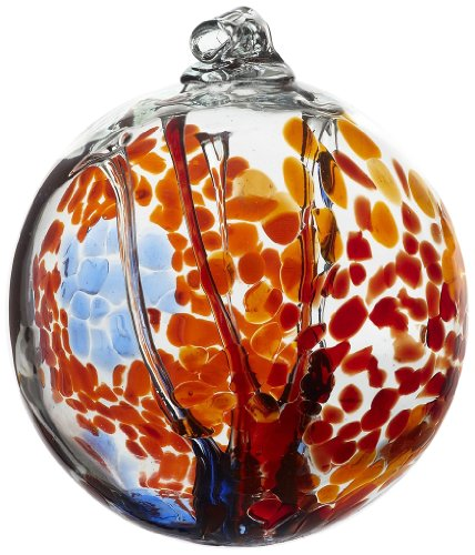 Kitras Art Glass Decorative Spirit Ball, 6-Inch, Orange (Blown Glass Ball)