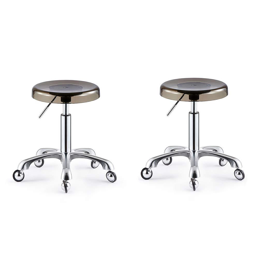 Plating×2 XLZ Barstool, Beauty Stool, Work Bench, Stainless Steel 5 redations Lift Hairdresser Beauty Salon Hair Pulley Stool 40-54cm Suitable for 70-90cm Counter,Breakfast Stool,Counter Chair
