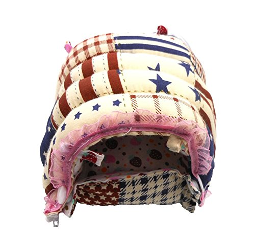 WOWOWMEOW Small Pet Warm Cave Bed for Hamsters, Guinea-Pigs, Chinchillas and Rabbits (XL, Flag)