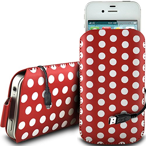 N4U Online - Apple Iphone 4 protection en cuir PU conception Polka Pull Tab cordon glisser Housse Etui Quick Release et de données USB Câble de charge - Rouge