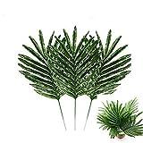 Daylin 24Pcs Artificial Palm Leaves 40x21cm Tropical Imitation Plantsleaves Hawaiian Party Theme Decoration (24Pcs, Green)