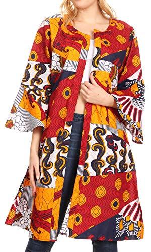Sakkas 2202 - Praya Women's Long Sleeve Open Front Cardigan Dress Coat African Ankara - 120-WhiteNavyRed - -