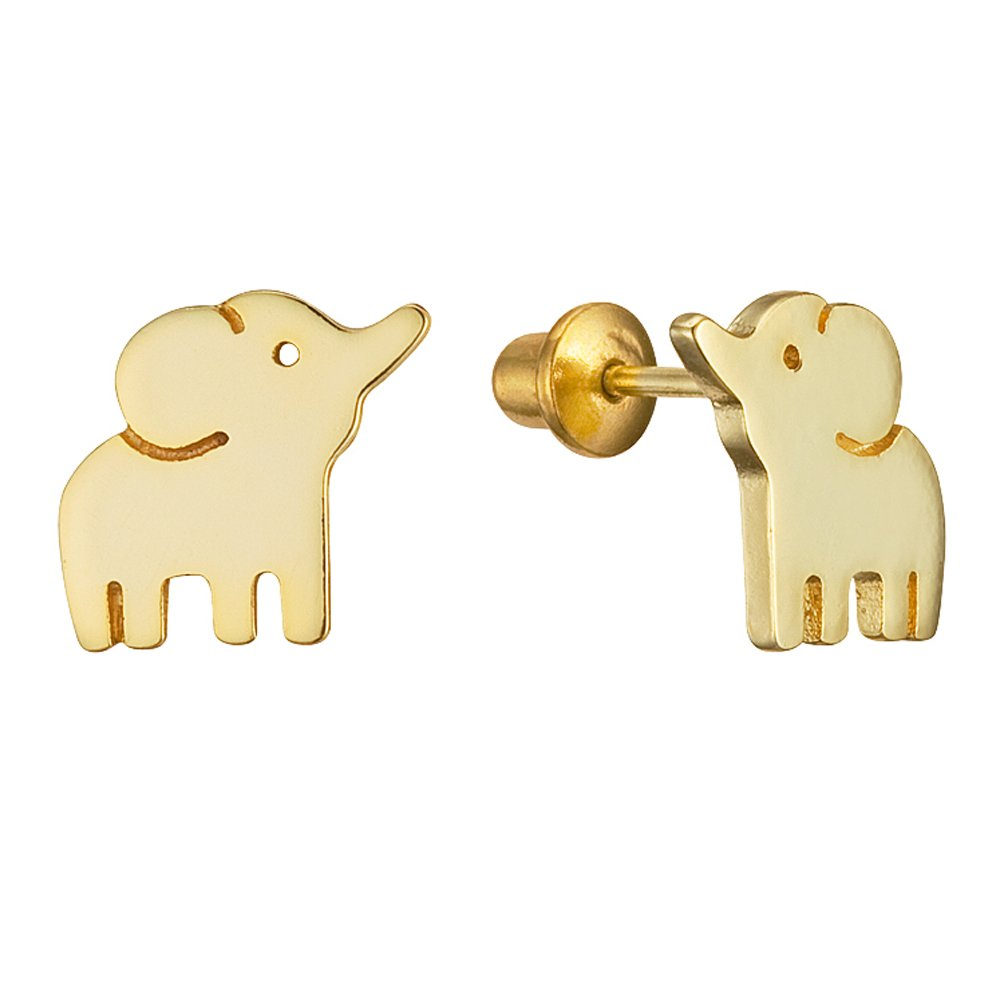14k Gold Plated Brass Baby Elephant Screwback Girls Earrings with Sterling Silver Post Lovearing BE3106