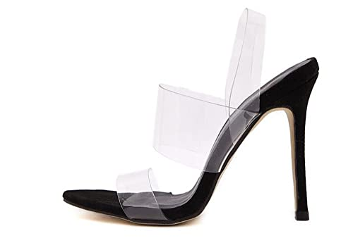 7b374a04dea Womens High Heel Barely There Clear Perspex Sandals Strappy Stiletto Size( Black-35