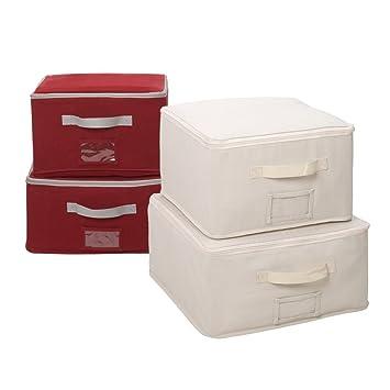 StorageManiac Cajas de almacenamiento con tapa y bolsillo transparente, Pack de 2 cajas rojas y 2 beige: Amazon.es: Hogar