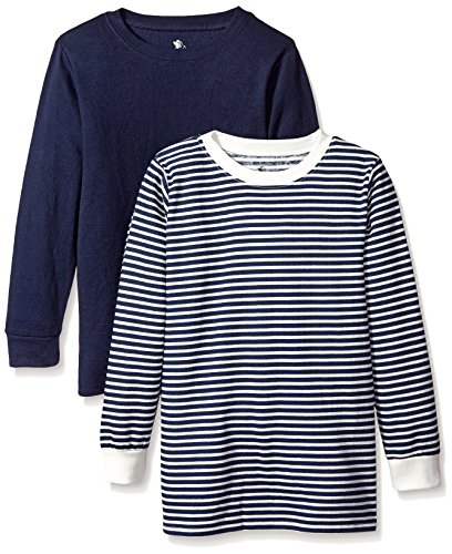 American Hawk Little Boys' 2 Pack: Long Sleeve Thermal Tops, Navy//Natural, 7 by American Hawk