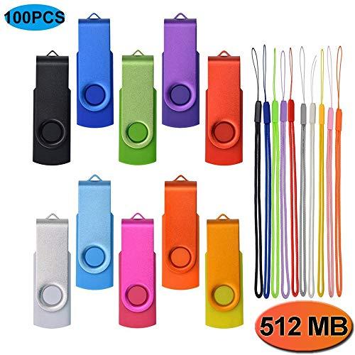 Bulk 100 Pack 512MB Pen Drives USB 2.0 Memory Sticks - Multipack Small Capacity Data Stick by Kepmem