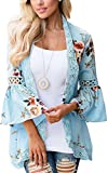 ECOWISH Womens Floral Print Loose Puff Sleeve Kimono Cardigan Lace Patchwork Cover Up Blouse Blue 2XL
