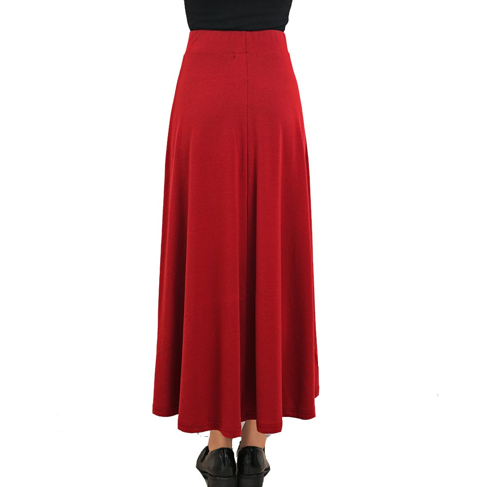 TEERFU Donna Winter Mid Carf Gonna Lunga Stretch Slim Fit a Pieghe Gonna Casual in Cotone