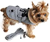 DOGGIE DESIGN Charmed Winter Harness Coat with Matching Leash Set – Dog Size (Medium- Chest 16″-19″ Neck 12″-14″, Gray Herringbone) Review