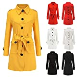 Women's Winter Peacoat Woolen Windbreaker Parka Overcoat Slim Outwear with Belt