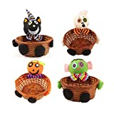 Newkelly Halloween Doll Fruit Decoration Bowl Ghost Candy Basket Home Decor Hand Woven