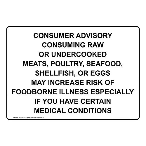 Consumer Advisory Consuming Raw Or Undercooked Label Decal, 7x5 inch Vinyl for Safe Food Handling by ComplianceSigns