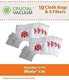 10 Miele FJM Deluxe Cloth Bags & 4 Filters, Fits Miele Vacuum FJM