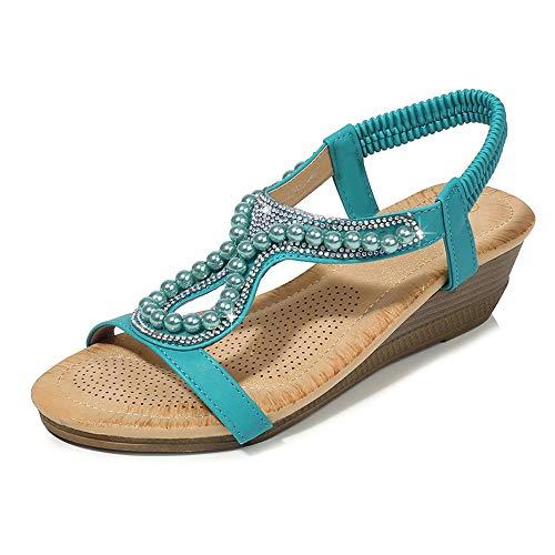 RaiSito Summer Flat Gladiator Sandals for Women Comfortable Casual Beach Shoes Platform Bohemian Beaded Flip Flops Sandals Green