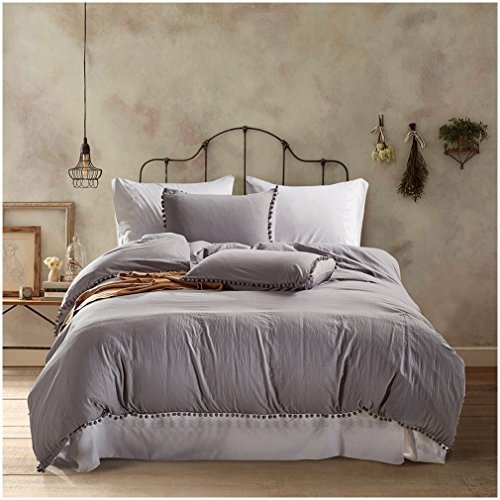 Lightweight 100% Washing Duvet Cover Sets, Anti-allergy anti-wrinkle Soft 3 Piece Sets of Duvet Cover Bedding (Queen, light Grey) (Grey Toile Duvet Cover)