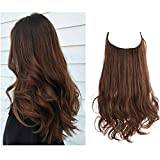 SARLA Brown Hair Extensions Halo Curly Short Synthetic Hairpiece 12 Inch 3.5 Oz Hidden Wire Headband for Women Heat Resistant Fiber No Clip (M05&2/30)