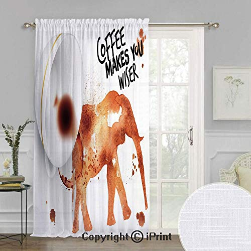 (Coffee Art Extra Wide Chiffon Sheer Curtain,Drink Coffee and Be Wiser Concept with Elephant Espresso Stains,for Large Window/Sliding Glass Door/Patio Door,100x84inch,Burnt Sienna Black White)