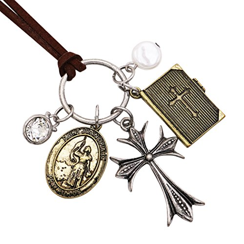 Rosemarie Collections Women's Cross and Saint Joan of Arc Holy Medal Pendant Necklace