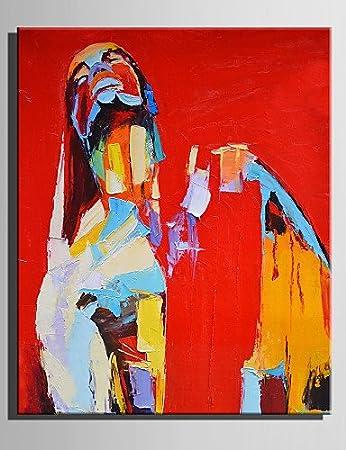 Ölgemälde Modern schaute die Frau reine Hand Zeichnung Frameless ...