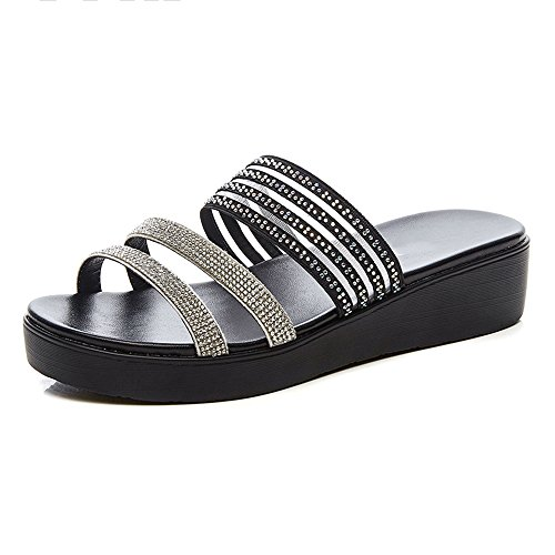 Imitación Wear De Slipper 1 Eu40 2 Cuñas Summer Tamaño Zapatos color uk7 Gruesos Sandalias Estudiante Lha Diamantes cn41 npzFx