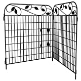 Amagabeli Decorative Garden Fence 44in x 6ft Metal Outdoor Rustproof Landscape Wrought Iron Wire Fencing Gate Border Edge Folding Patio Fences Flower Bed Animal Barrier Section Edging Black FC07