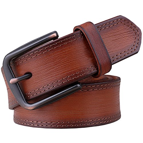 Capplue Casual Mens Top Grain Leather Pin Buckle Mens Belts Full Grain Leather Belt Brown2 Belt 40inch